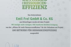 Urkunde Ressourcen Effizienz