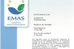 EMAS Umwelt Zertifikat