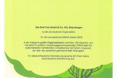 EMAS Umwelt Urkunde